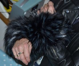 Fur Wrist Warmers in Black Faux Fur with Grey Tips